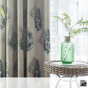 blackout drape curtain with printed retro feather pattern