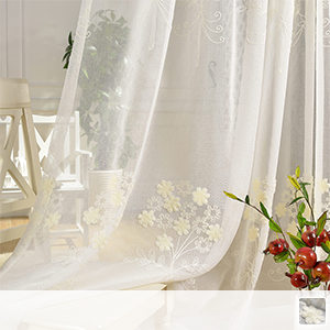 white floral sheer curtains with pale cave embroidery