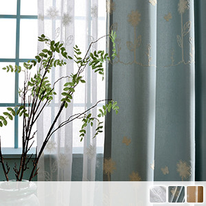 Set with lace, curtains with cute florets embroidered