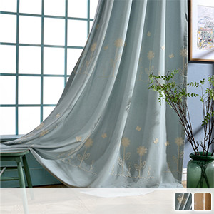 drape curtains with cute embroidered flowers