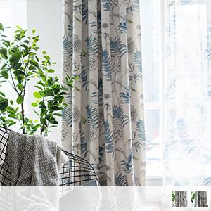 Drape curtains, natural botanical prints