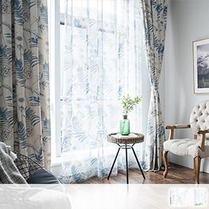 Lace curtains, natural botanical print