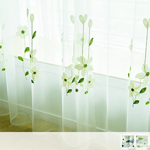 sheer curtains, cute white floral embroidery