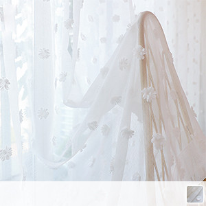 sheer curtains, embroidered with fluffy three-dimensional flowers