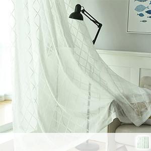 Lace curtain, simple plaid