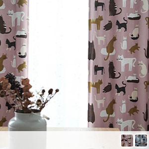 Drape curtain, cat pattern with various patterns