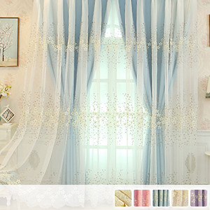 cute layered curtains with gorgeous floral embroidery