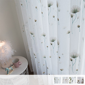 white sheer curtains with beautiful dandelion embroidery