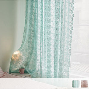 sheer curtains with embroidered arabesque flowers