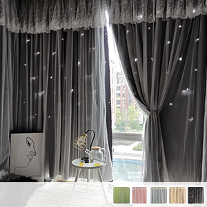Drape and lace integrated curtain, combination of star hole drape fabric and frill lace Princess integrated curtain