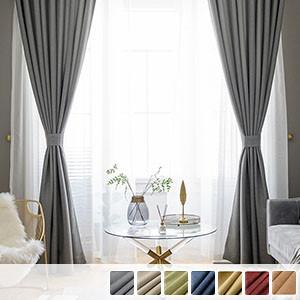 Drape curtain, linen touch plain blackout curtain