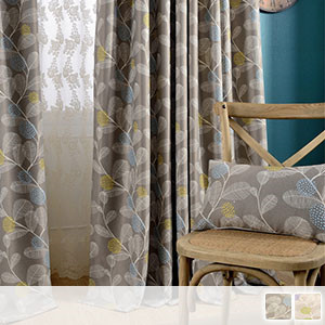 Drape curtain, a second-class light-shielding fabric with a tural-like plant pattern and high thread density