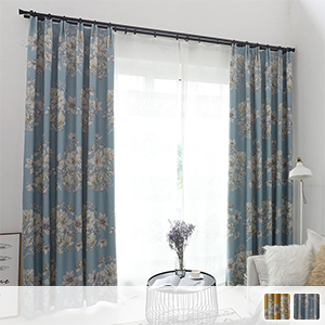 blackout drape curtains with large flower pattern