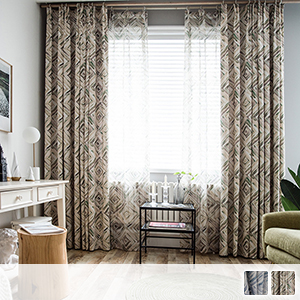 Modern watercolor geometric drape curtain
