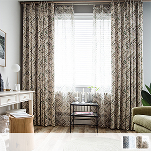 curtain set with modern watercolor-style geometric lace