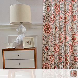 drape curtains with bright fireworks pattern