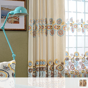 Bright floral embroidery drape curtain