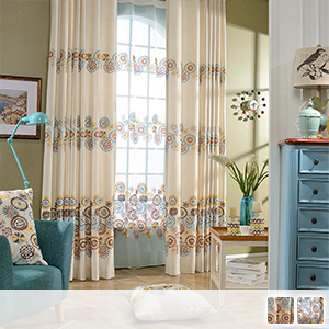 curtain set with bright floral embroidery