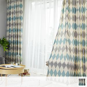Modern rhombus drape curtain