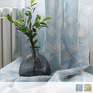 Rounded leaf pattern lace curtain