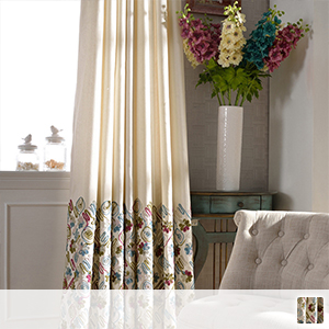 Drape curtain, embroidered with colorful yarn