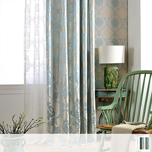 drape curtains with pale blue damask pattern