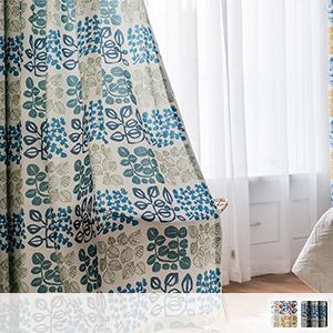 Drape curtains, bright leaf motif pattern