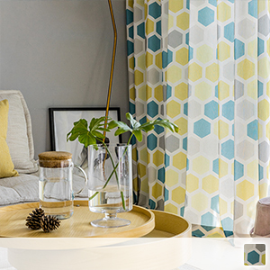 drape curtain with chic printed hexagon