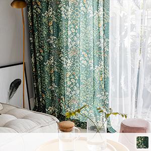 drape curtain with green botanical pattern
