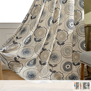 drape curtain, large floral pattern drawn freely