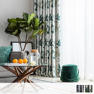 elegant drape curtain with ink-style leaf pattern