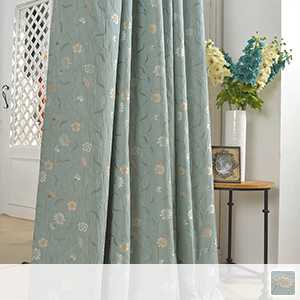 floral drape curtains with embroidered design