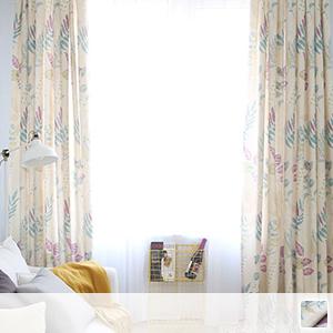 drape curtains with leaf motif design