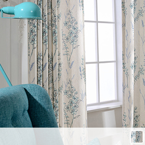 drape curtains with printed flowers, watercolor style