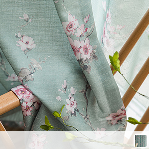 drape curtains, pretty floral pattern drawn with an elegant touch