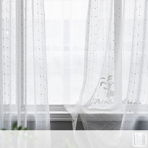 sheer curtains with polka dots connected by simple lines
