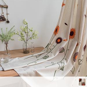Drape curtain, cute sunflower embroidery