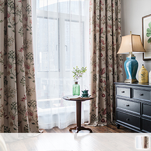 Set curtains and floral patterns are drawn with a delicate touch