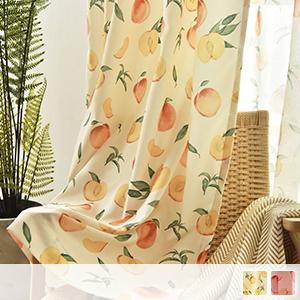 drape curtain with fresh peach pattern
