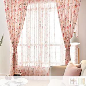 Lace curtain, fresh peach pattern