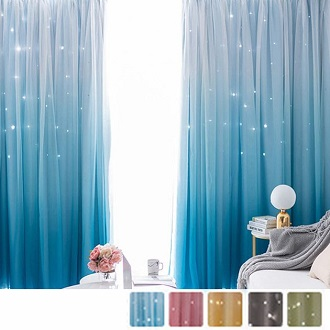 99.8% blackout curtain set with hollowed star pattern and gradient sheers