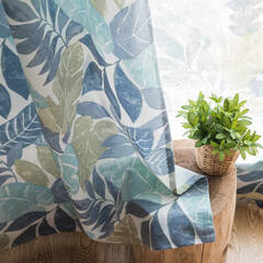 Scandinavian taste leaf pattern curtains