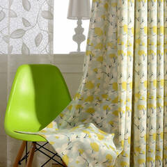 Scandinavian curtains with a leaf pattern of soft texture and color