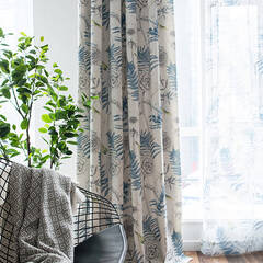 Scandinavian curtains with a plant pattern drawn with a delicate touch