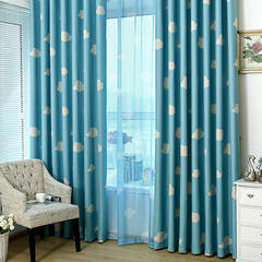 Curtains with a cute cloud pattern