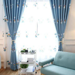 Cody net curtains with rainbow embroidery and blue fabric