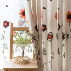 Fun sunflower embroidery curtains