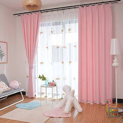 Curtains with rainbow embroidery and pink coordination