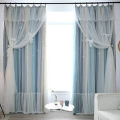 A princess curtain with a star pattern engraved on a striped fabric by laser cutting