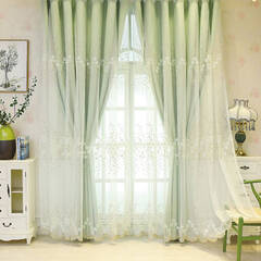 Gorgeous flower embroidery lace Layered Curtains